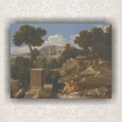 "Картина ""Landscape with Saint John on Patmos"" - репродукция. Художник Пуссен"