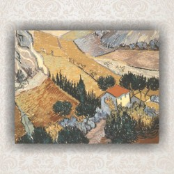 "Картина ""Landscape with House and Ploughman"" - репродукция. Художник Ван Гог"